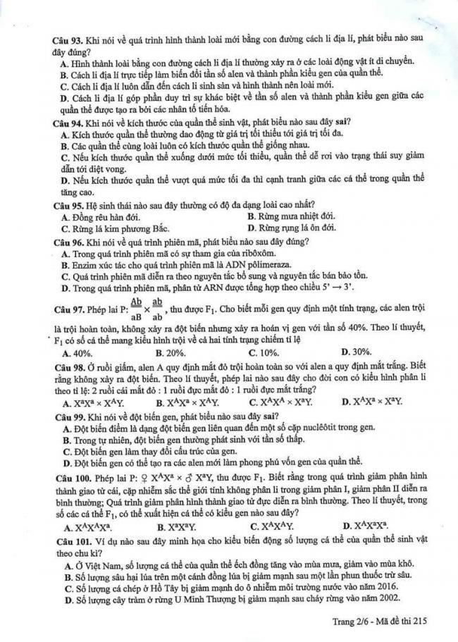 Đáp án đề thi môn Sinh 215 THPT Quốc Gia năm 2017 trang 2