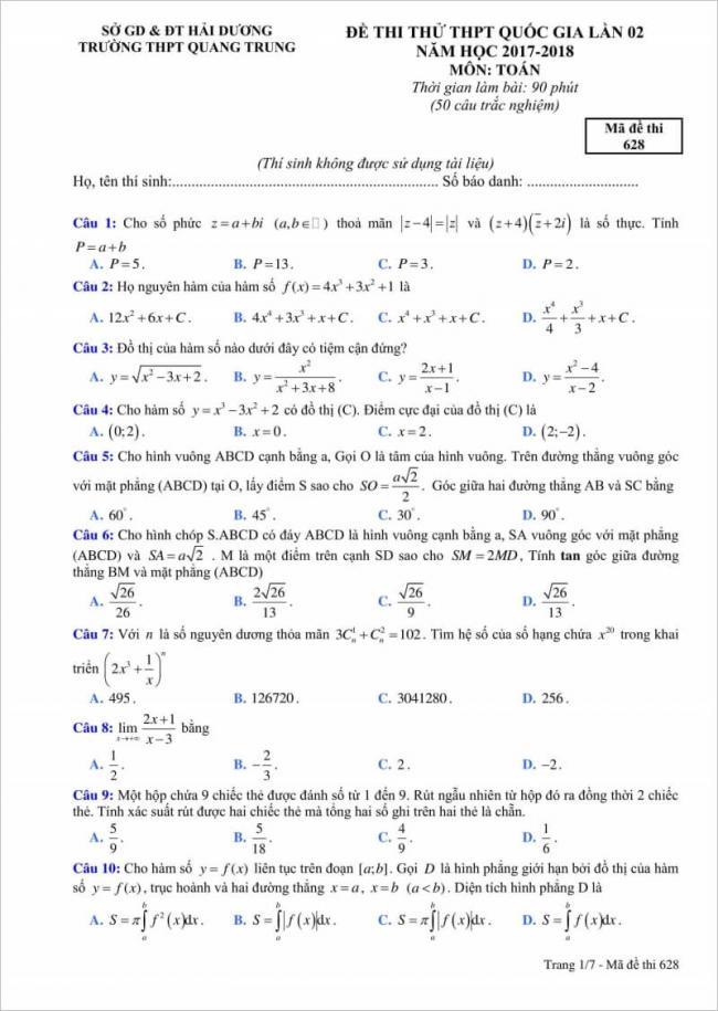 câu 1 - 10 đề thi thử toán thpt quang trung 2018