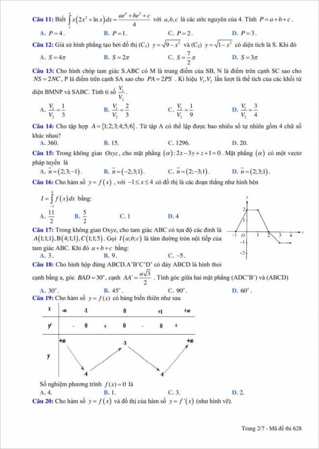 câu 11 - 20 đề thi thử toán thpt quang trung 2018