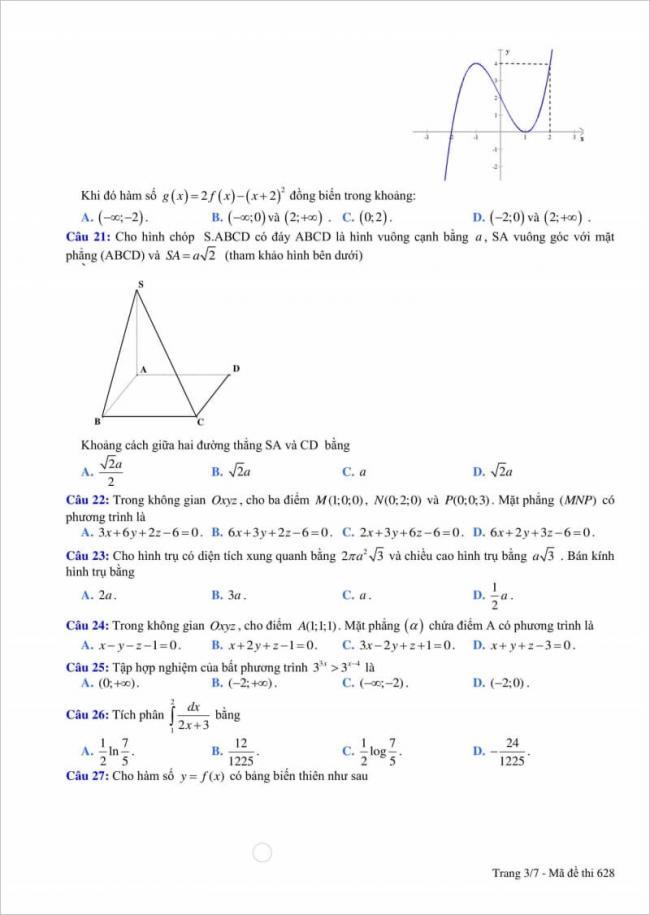 câu 21 - 27 đề thi thử toán thpt quang trung 2018