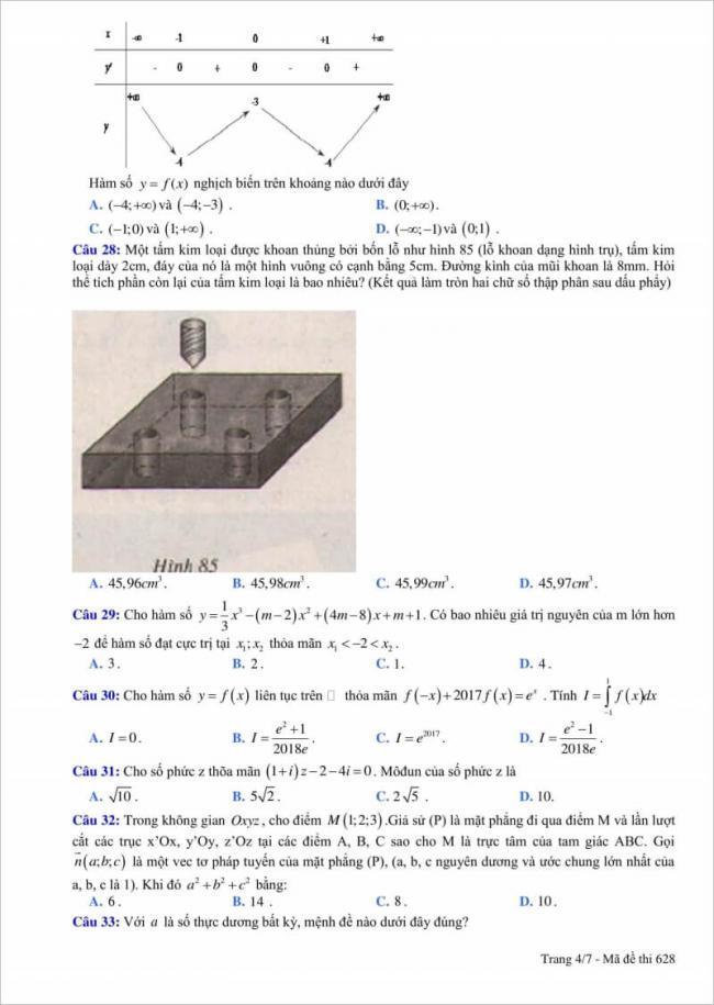 câu 28 - 33 đề thi thử toán thpt quang trung 2018