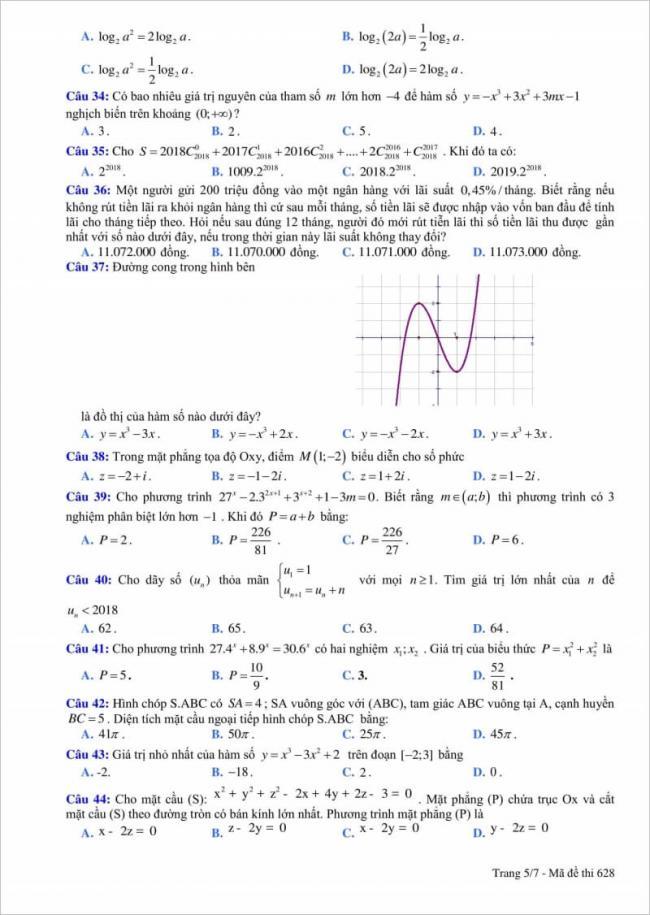 câu 34 - 44 đề thi thử toán thpt quang trung 2018