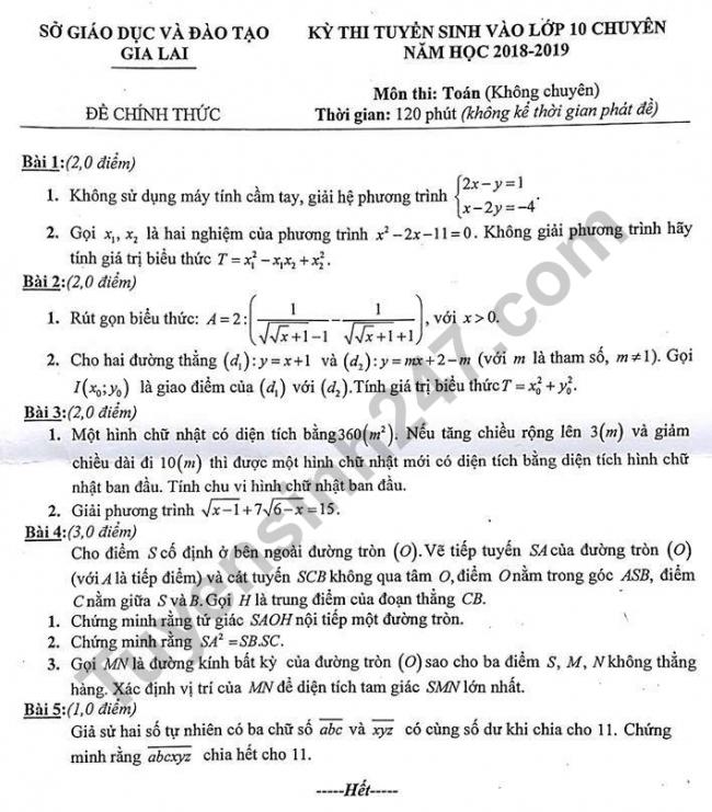 đề thi Toán vào lớp 10 chuyên tỉnh Gia Lai 2018