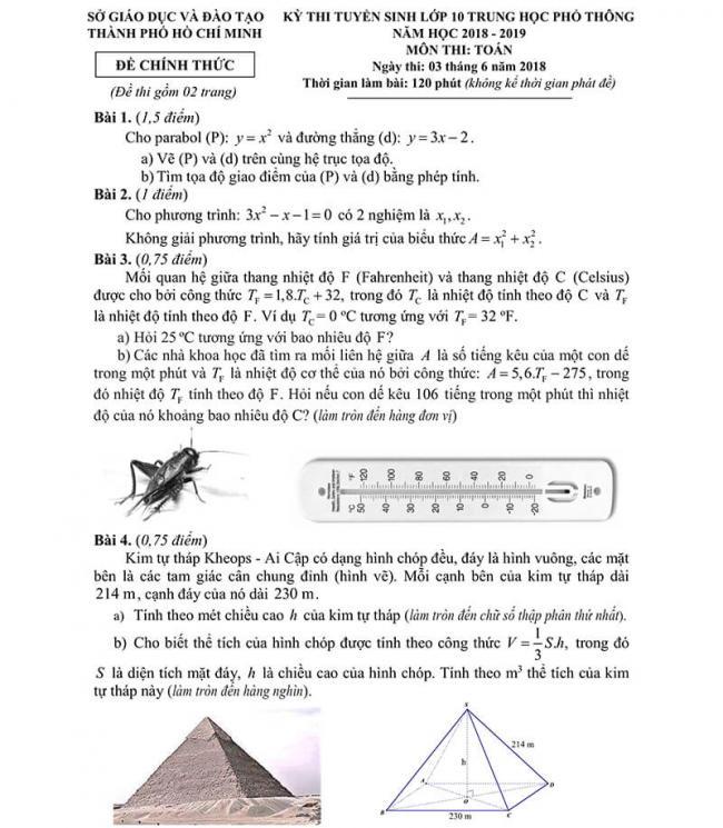 Đề thi Toán vào lớp 10 TP Hồ Chí Minh năm 2018 trang 1