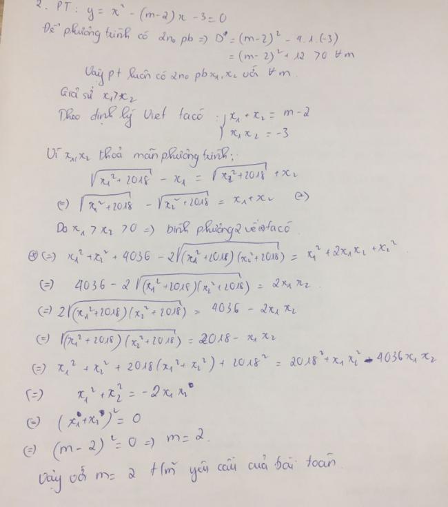 Đáp án câu 3 ý 2 đề thi toán vào lớp 10 tỉnh Thanh Hóa năm 2018
