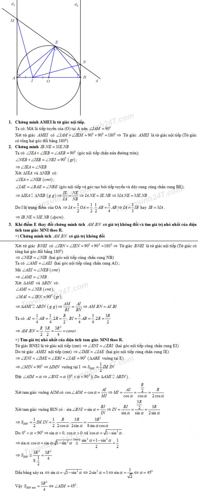 Đáp án câu 4 đề thi toán vào lớp 10 tỉnh Thanh Hóa năm 2018