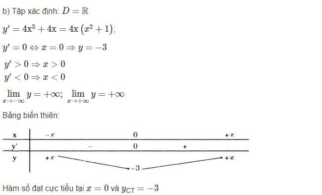 Đáp án câu b bài 1 trang 18 sgk giải tích lớp 12