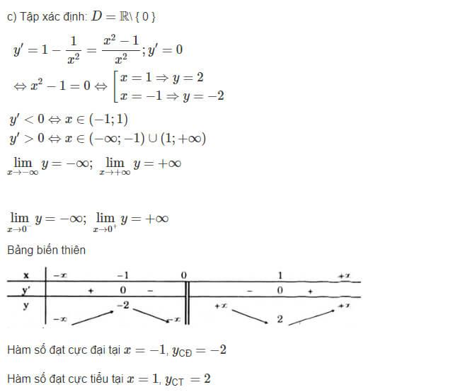 Đáp án câu c bài 1 trang 18 sgk giải tích lớp 12