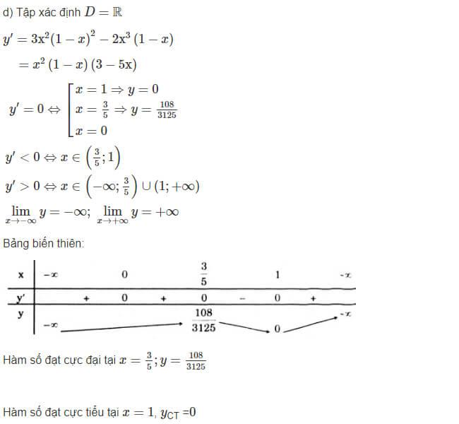 Đáp án câu d bài 1 trang 18 sgk giải tích lớp 12