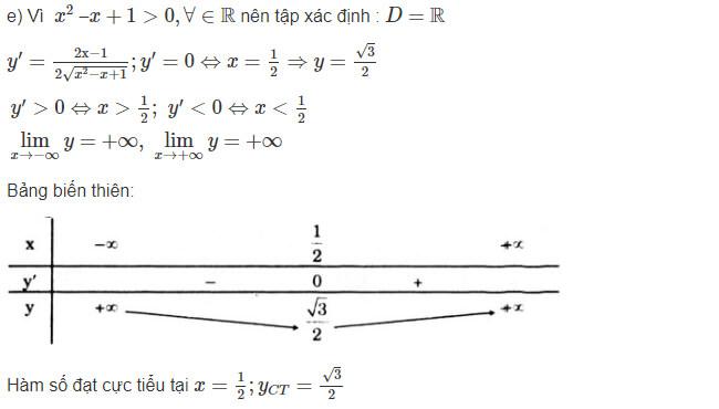 Đáp án câu e bài 1 trang 18 sgk giải tích lớp 12