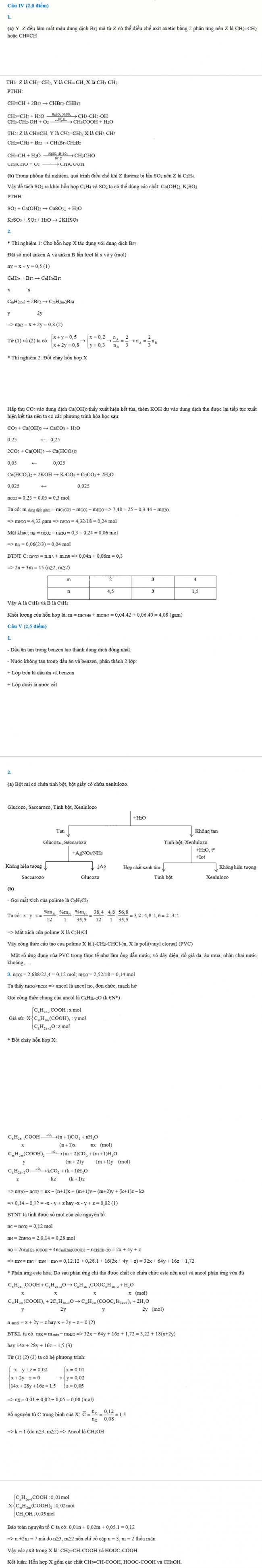 đáp án câu IV, V đề hóa chuyên vào lớp 10 Đà Nẵng 2018