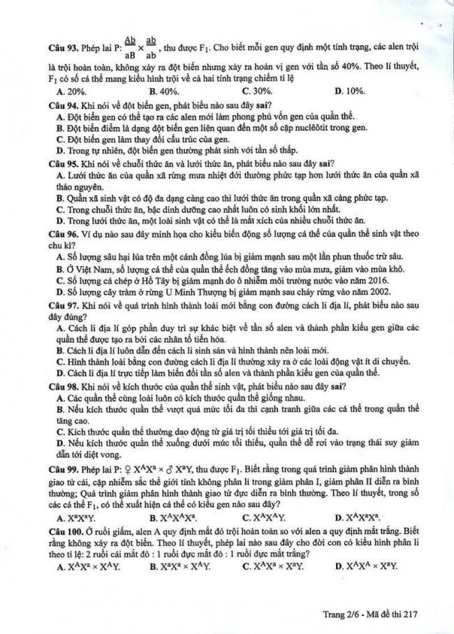 Đáp án đề thi môn Sinh 217 THPT Quốc Gia năm 2017 trang 2