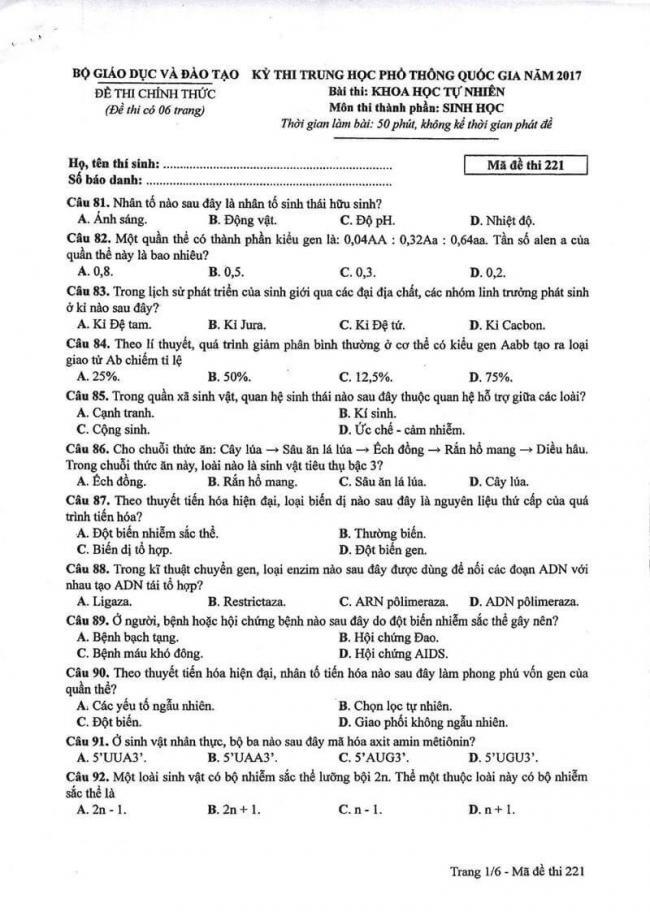 Đáp án đề thi môn Sinh 221 THPT Quốc Gia năm 2017 trang 1