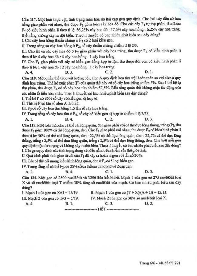 Đáp án đề thi môn Sinh 221 THPT Quốc Gia năm 2017 trang 6