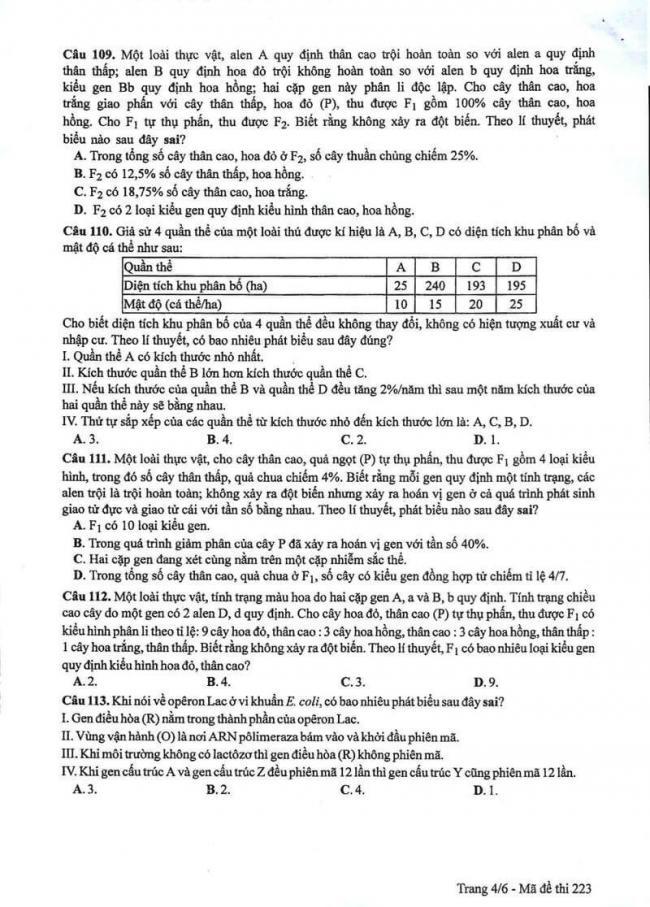 Đáp án đề thi môn Sinh 223 THPT Quốc Gia năm 2017 trang 4