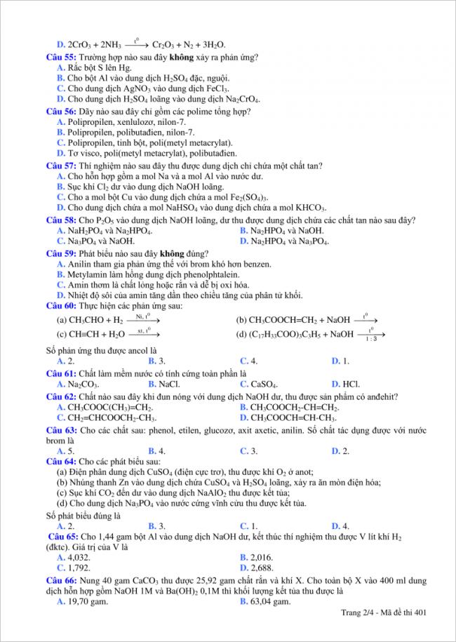 từ câu 55 đến 66 đề thi thử Hóa THPT quốc gia 2018 Đà Nẵng