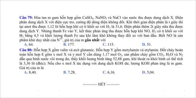 câu 79, 80 đề thi thử Hóa THPT quốc gia 2018 Đà Nẵng