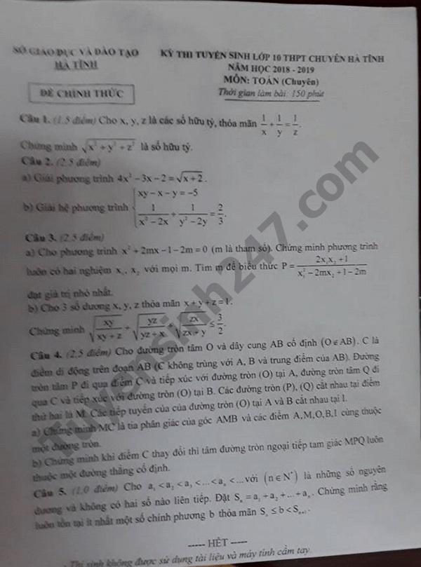 đề toán chuyên hà tĩnh 2018