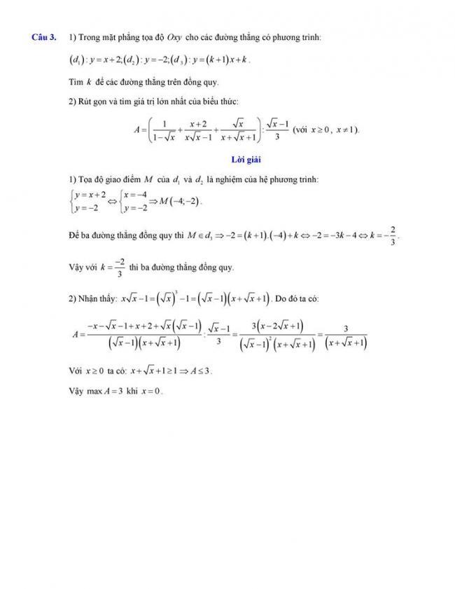 đáp án câu 3 đề toán thi vào lớp 10 tỉnh Đắk Lắk 2018
