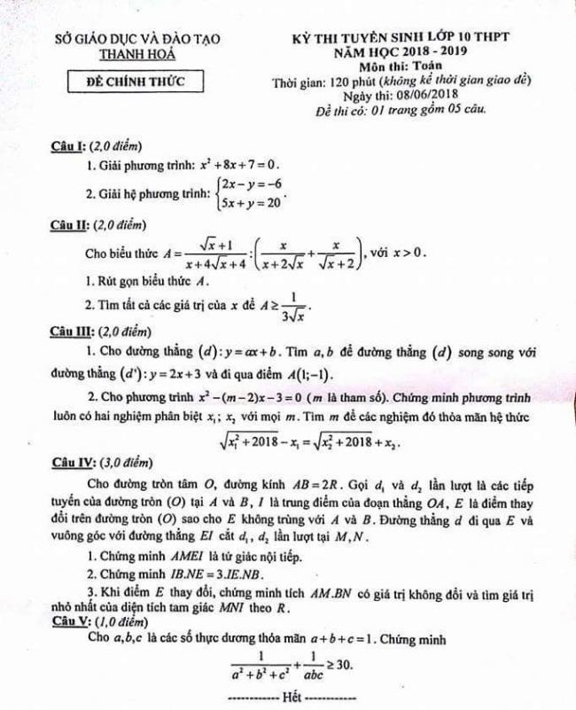 đề thi toán vào lớp 10 tỉnh Thanh Hóa năm 2018