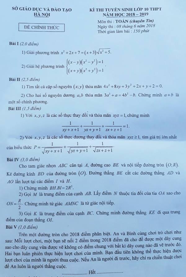 đề thi chuyên toán tin vào lớp 10 năm 2018 TP Hà Nội