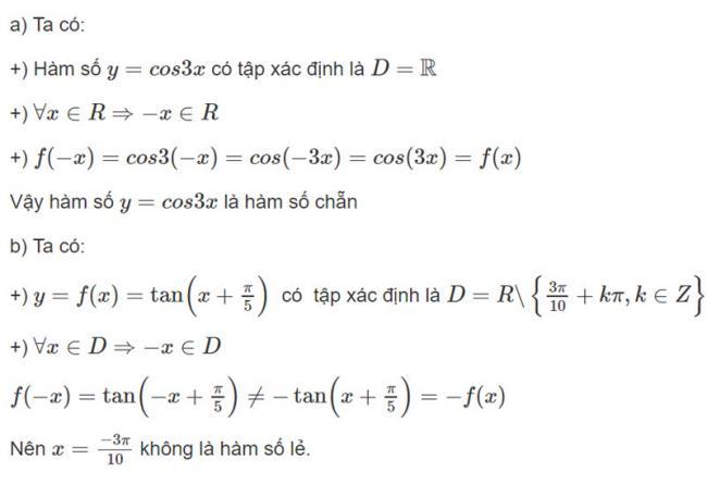 Đáp án1 trang 40 SGK toán đại số và giải tích lớp 11