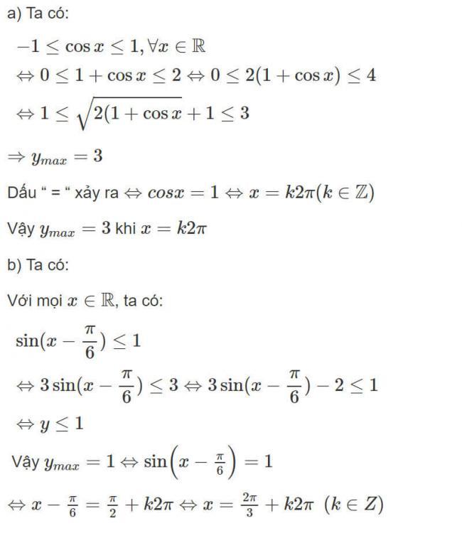 Đáp án bài 3 trang 41 SGK toán đại số và giải tích lớp 11