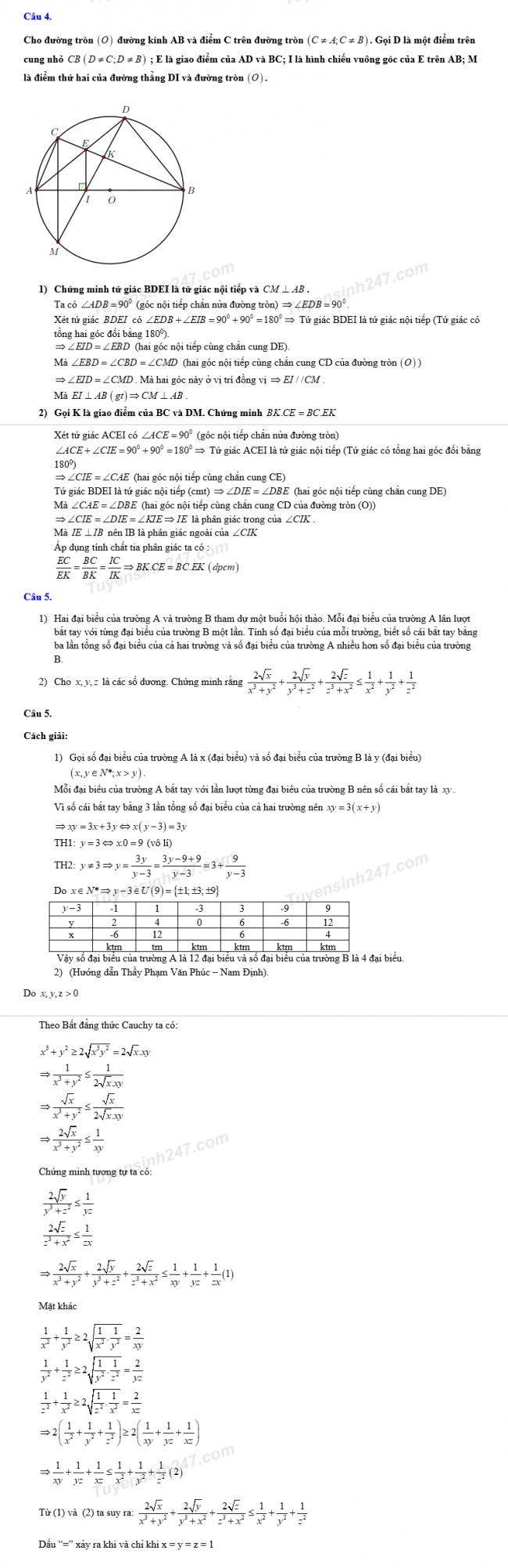 Đáp án câu 4 và câu 5 đề thi môn toán vào lớp 10 tỉnh Nam Định 2018