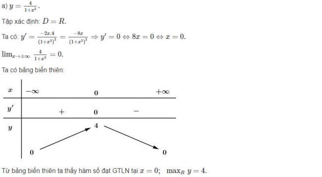 Đáp án câu a bài 4 trang 24 sgk giải tích lớp 12