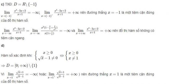 Đáp án câu c và d bài 2 trang 30 sgk giải tích lớp 12