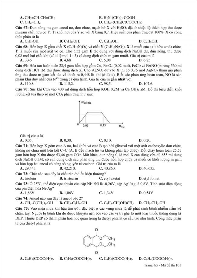 câu 67 - 75 trang 3 đề thi thử hóa thpt nguyễn viết xuân 2018