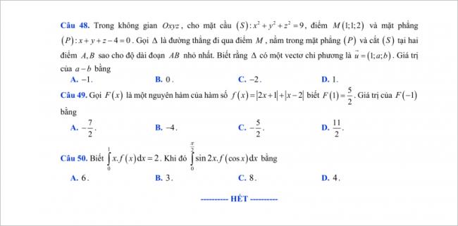 trang 6 câu 48 - 50 đề thi thử toán thpt chu văn an 2018