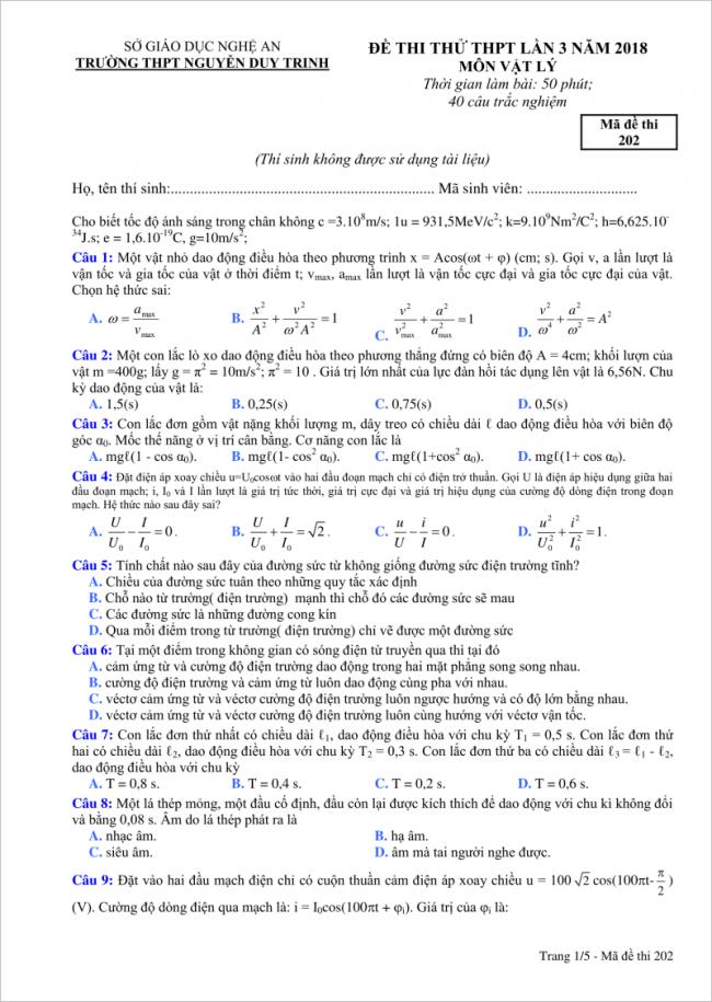 câu 1 đến 9 đề thi thử vật lý THPT Nguyễn Duy Trinh 2018