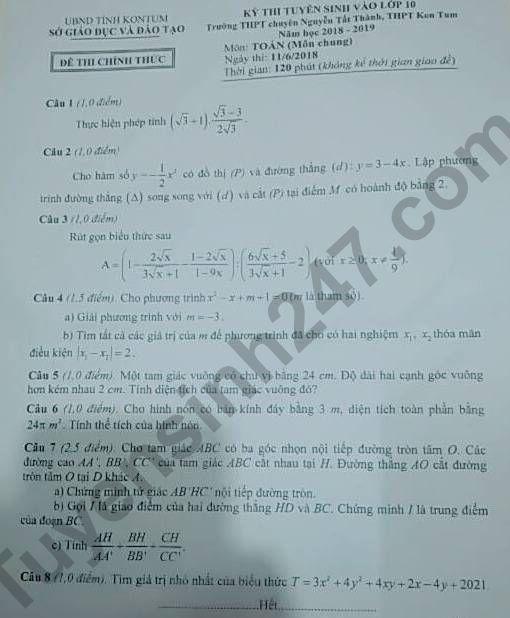 Đáp án đề thi vào lớp 10 môn Toán 2018 tỉnh Kon Tum