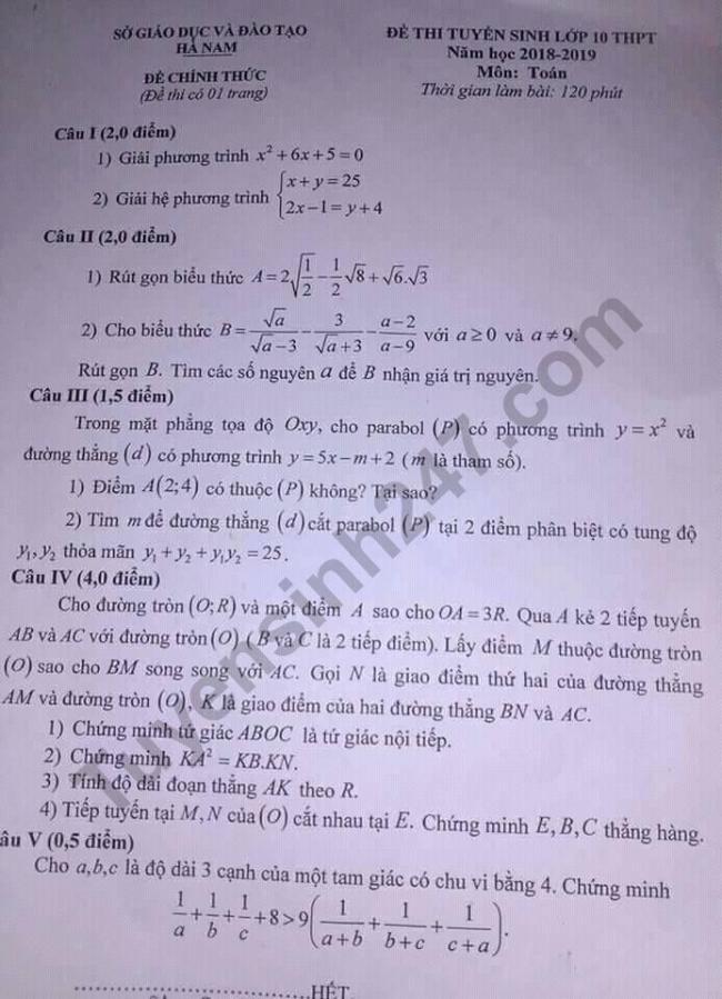 đề thi vào lớp 10 môn toán tỉnh Hà Nam 2018