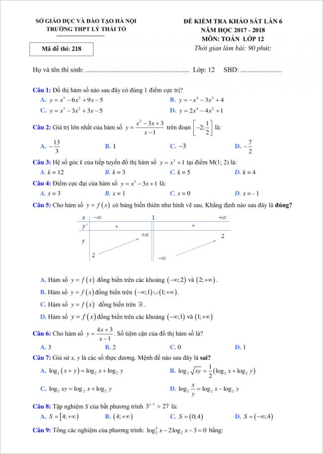 câu 1 đến 9 đề toán thi thử thpt lý thái tổ 2018