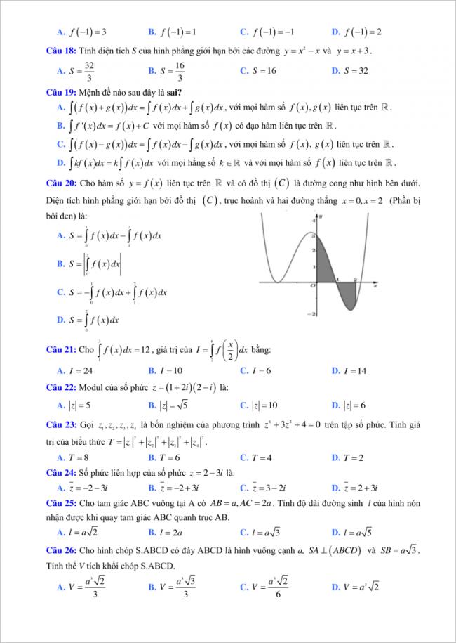 câu 18 đến 26 đề toán thi thử thpt lý thái tổ 2018