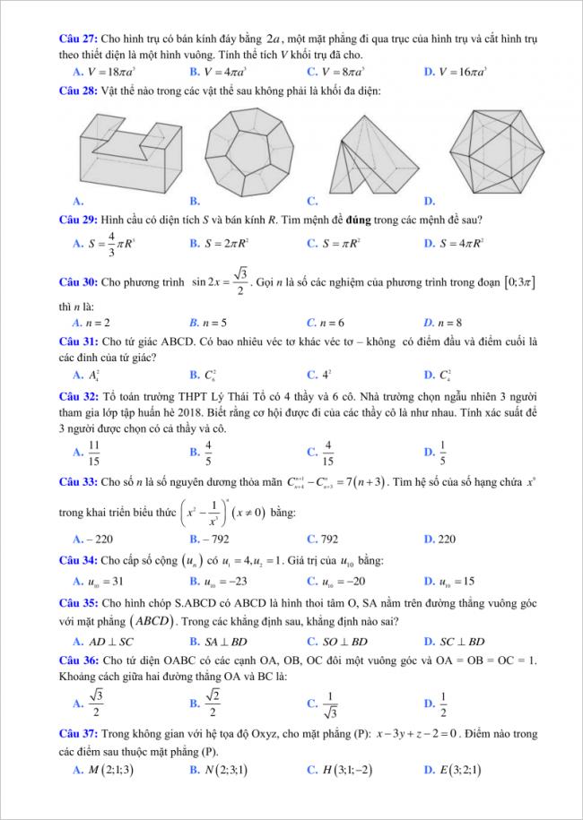 câu 27 đến 37 đề toán thi thử thpt lý thái tổ 2018