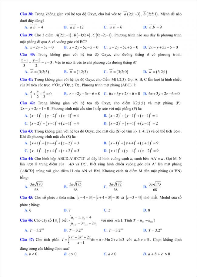 câu 38 đến 47 đề toán thi thử thpt lý thái tổ 2018