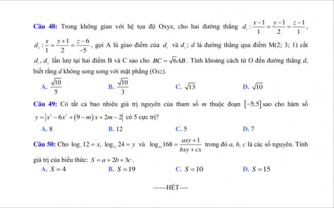 câu 48 đến 50 đề toán thi thử thpt lý thái tổ 2018