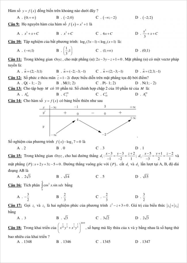 trang 2 câu 9 đến 18 đề toán thi thử thpt gia bình 1