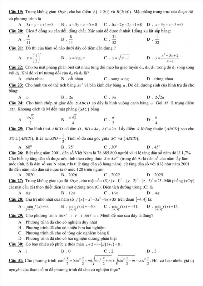 trang 3 câu 19 đến 31 đề toán thi thử thpt gia bình 1