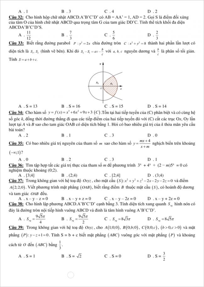 trang 4 câu 32 đến 39 đề toán thi thử thpt gia bình 1
