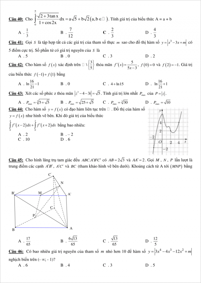 trang 5 câu 40 đến 46 đề toán thi thử thpt gia bình 1