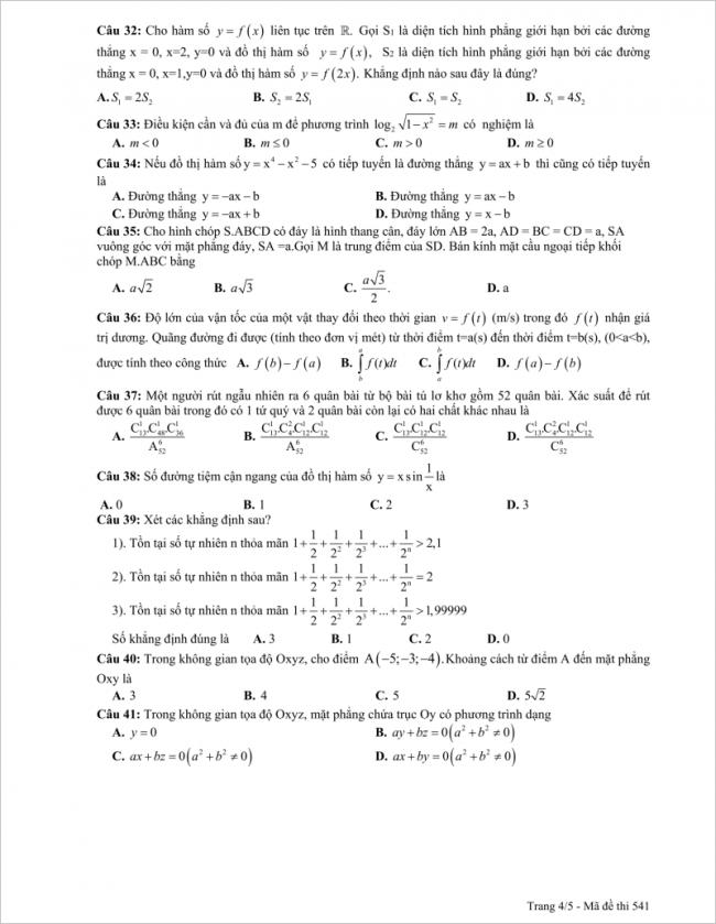 câu 32 đến 41 đề toán thi thử thpt chuyên sp hà nội 2018