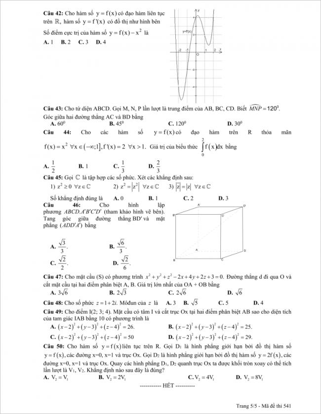 câu 42 đến 50 đề toán thi thử thpt chuyên sp hà nội 2018
