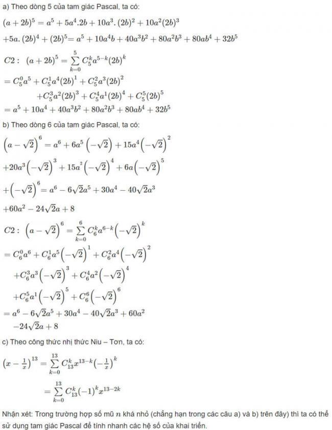 Đáp án bài 1 trang 57 SGK toán đại số và giải tích lớp 11