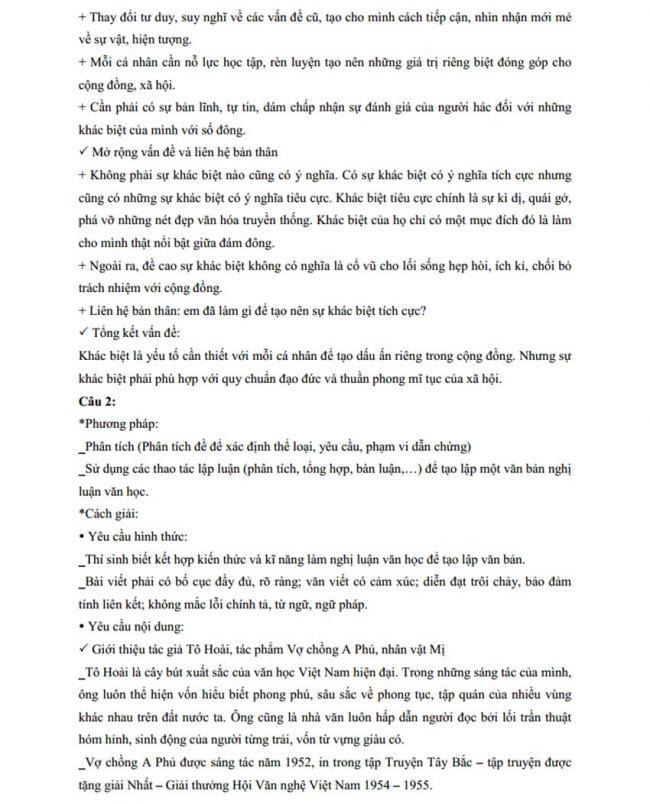 Đáp án Đề thi thử môn Văn thptqg năm 2018 trường Chuyên Thái Bình trang 3