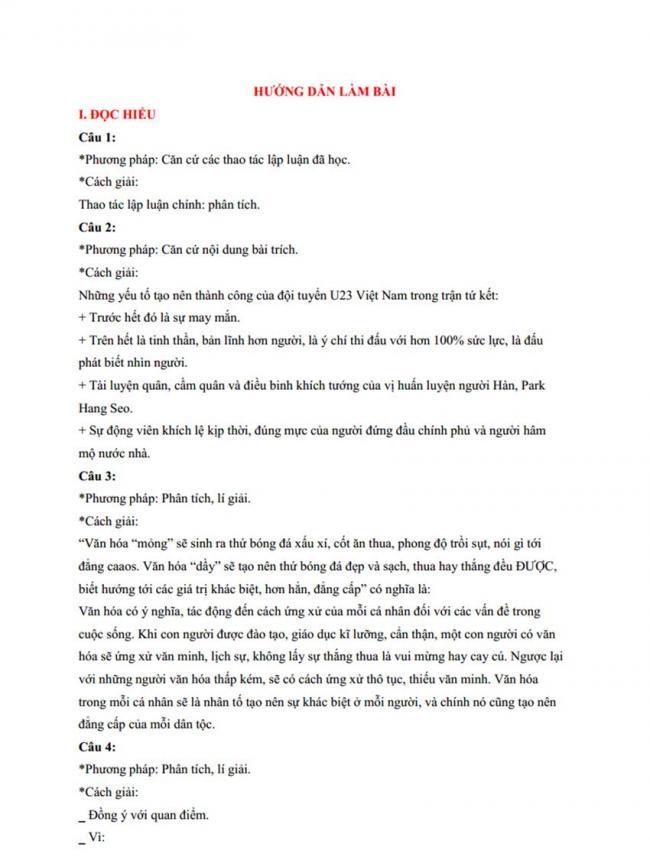 Đáp án Đề thi thử môn Văn thptqg năm 2018 trường Nguyễn Viết Xuân – Vĩnh Phúc lần 3 trang 1