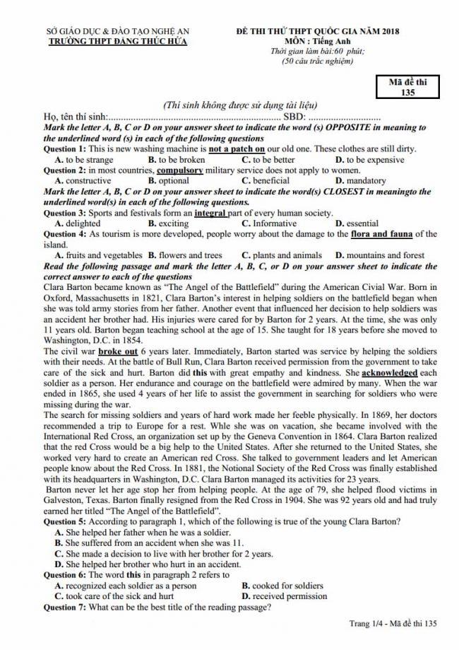Đề thi thử môn Anh thptqg năm 2018 trường THPT Đặng Thúc Hứa - Nghệ An - trang 1